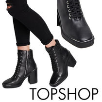 TOPSHOP Square Toe Platform Casual Style Street Style Plain Leather
