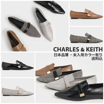 Charles&Keith Other Check Patterns Plain Toe Casual Style Faux Fur
