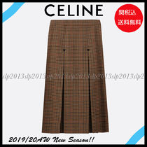CELINE Other Check Patterns Wool Blended Fabrics Pleated Skirts