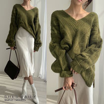 Cable Knit Casual Style V-Neck Long Sleeves Medium