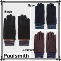 Paul Smith Street Style Plain Leather Leather & Faux Leather Gloves