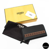 FENDI Monogram Unisex Street Style Plain Leather Long Wallets