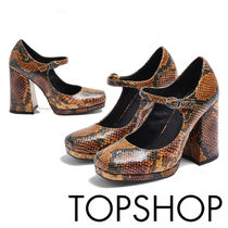 TOPSHOP Round Toe Casual Style Faux Fur Other Animal Patterns