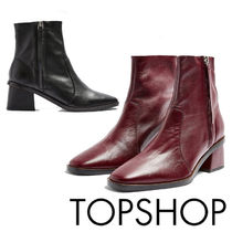 TOPSHOP Casual Style Plain Leather Elegant Style Chunky Heels
