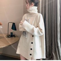 Casual Style U-Neck Long Sleeves Plain Sweaters