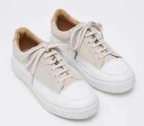 PAIRS IN PARIS Casual Style Blended Fabrics Leather Logo Low-Top Sneakers