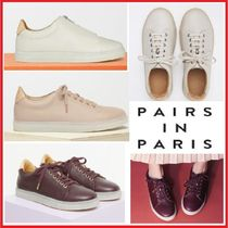 PAIRS IN PARIS Casual Style Blended Fabrics Leather Low-Top Sneakers