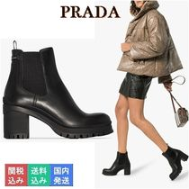 PRADA Rubber Sole Leather Block Heels Ankle & Booties Boots