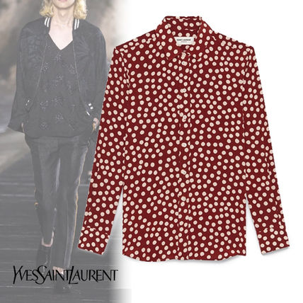 Saint Laurent Shirts Button-down Dots Silk Long Sleeves Luxury Shirts