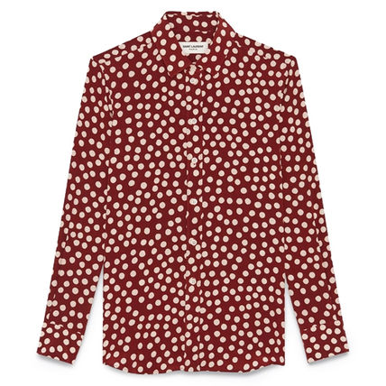 Saint Laurent Shirts Button-down Dots Silk Long Sleeves Luxury Shirts 2