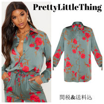 PrettyLittleThing Flower Patterns Casual Style Long Sleeves Long Party Style