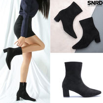 paperplanes Casual Style Suede Plain Block Heels Ankle & Booties Boots