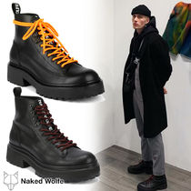 Naked Wolfe Street Style Plain Leather Engineer Boots