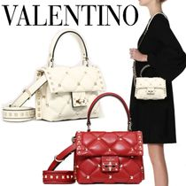 VALENTINO Casual Style Lambskin Studded 2WAY Plain Leather Party Style