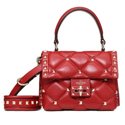 Casual Style Lambskin Studded 2WAY Plain Leather Party Style
