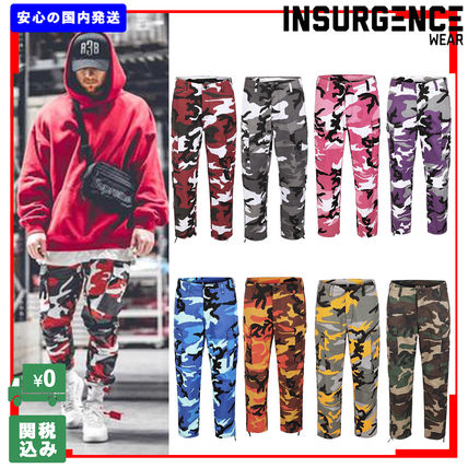 Printed Pants Camouflage Unisex Street Style Military