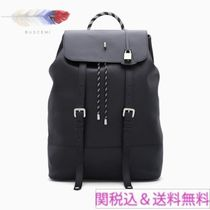 BUSCEMI Casual Style Unisex Plain Leather Backpacks