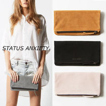 STATUS ANXIETY Casual Style Suede Plain Leather Party Style Office Style