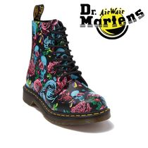 Dr Martens Flower Patterns Casual Style Mid Heel Boots