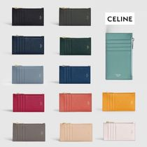 CELINE Zipped Plain Leather Small Wallet Card Holders