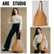 ARE STUDIO Casual Style A4 Plain Leather Totes