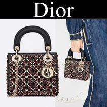 Christian Dior LADY DIOR Other Plaid Patterns Casual Style Calfskin Blended Fabrics