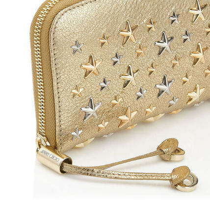 Star Unisex Canvas Studded Street Style Leather Long Wallets