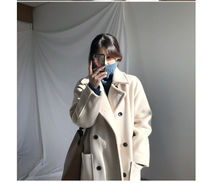 Stand Collar Coats Casual Style Wool Plain Long