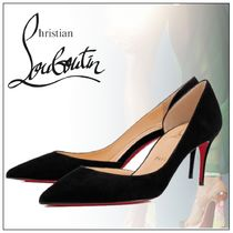 Christian Louboutin Velvet Plain Pin Heels Pointed Toe Pumps & Mules
