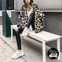 Leopard Patterns Faux Fur Street Style Medium Oversized