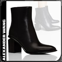 Alexander Wang Round Toe Casual Style Plain Leather Block Heels
