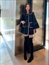 Stand Collar Coats Casual Style Wool Tweed Plain