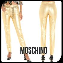 Moschino Casual Style Street Style Plain Cotton Long Skinny Pants