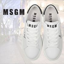 MSGM Rubber Sole Lace-up Casual Style Leather Low-Top Sneakers