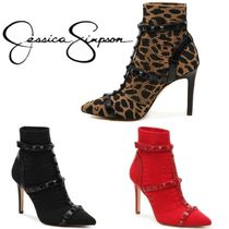 Jessica Simpson Leopard Patterns Blended Fabrics Studded Plain Pin Heels