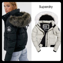 Superdry Short Casual Style Faux Fur Blended Fabrics Street Style