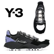 Y-3 Blended Fabrics Plain Leather Sneakers