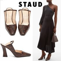 STAUD Casual Style Leather Block Heels Party Style Python