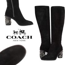 Coach Flower Patterns Round Toe Rubber Sole Casual Style Suede