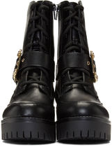 VERSACE JEANS Casual Style Plain Leather Office Style Logo Mid Heel Boots