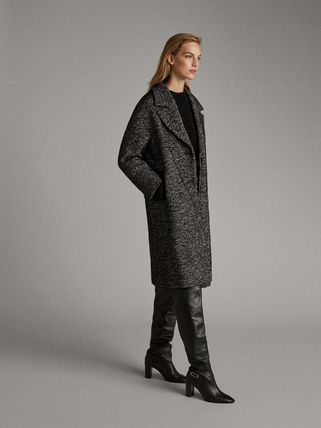 Casual Style Tweed Long Elegant Style Chester Coats