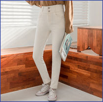 Casual Style Street Style Plain Cotton Skinny Pants