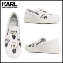 Karl Lagerfeld Casual Style Unisex Leather Office Style Slip-On Shoes