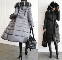 gumzzi Casual Style Faux Fur Blended Fabrics Plain Long Party Style