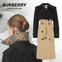Burberry Other Check Patterns Bi-color Leather Long Elegant Style