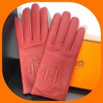HERMES Cashmere Leather Leather & Faux Leather Gloves