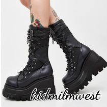DOLLS KILL Round Toe Lace-up Casual Style Street Style Plain