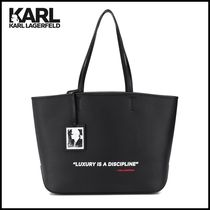 Karl Lagerfeld Casual Style Unisex Leather Totes