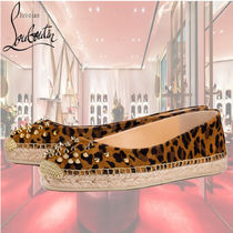 Christian Louboutin Leopard Patterns Casual Style Blended Fabrics Studded