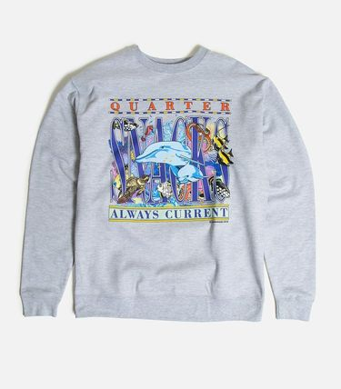 Crew Neck Unisex Sweat Street Style Long Sleeves